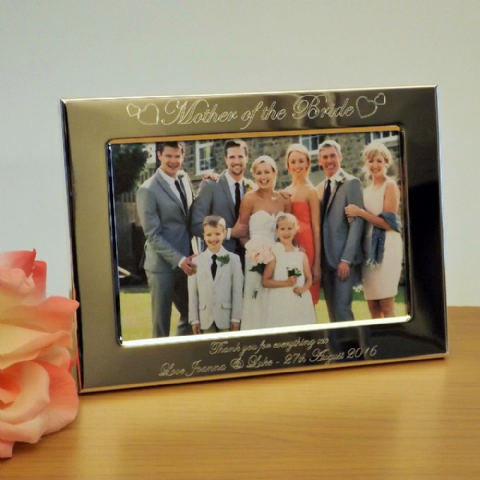 Mother of the Bride Hearts Photo Frame Personalised Wedding Gift